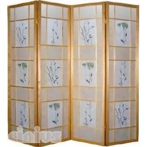 Separè- Paravent Modell Flower Rahmen natural