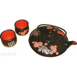 Set aus The -  Teekanne mit vier Tassen verziert schwarz