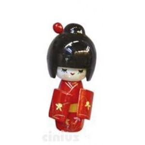 Puppe Kokeshi Groesse, Holz von Hand bemalt.