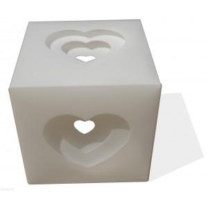 Tischleuchte weiß Herz-Box
