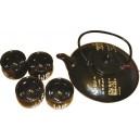 Set Teekanne mit vier Tassen schwarzen Ideogramm mehr